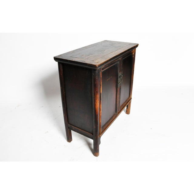 17th Century Qing Dynasty Round Post Chest With Two Drawers and Original Patina For Sale - Image 4 of 13