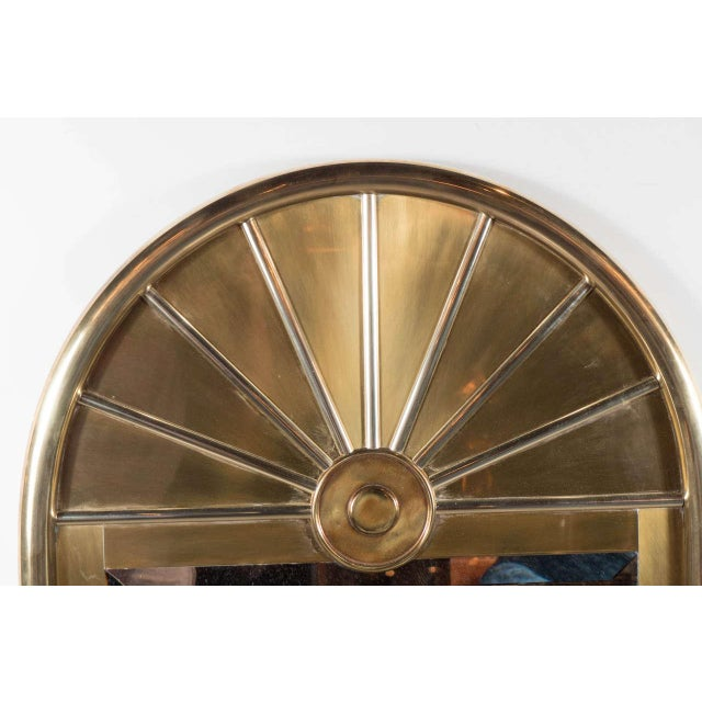 Pair of Mid-Centuy Modernist Arch Form Mirrors in Brushed Brass by Mastercraft - Image 3 of 6