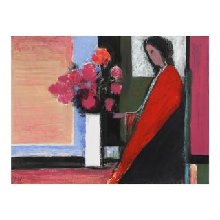 Woman in Red, Painting by Dore (Jose Canes) For Sale