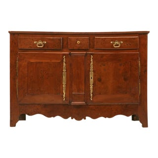 French 18th c Louis XIII Solid Yew Wood Buffet For Sale