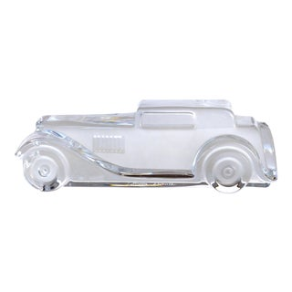 """Marly"" Crystal Relief Car Sculpture by Daum - France, 1988 Signed For Sale"