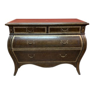 1990s Baroque Tooled Leather Bombe Hall Chest For Sale