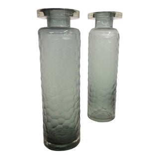 Battuto Smoked Murano Glass Vases - a Pair For Sale