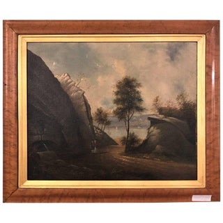 Oil Painting Circa 1930s Figures on a Path For Sale