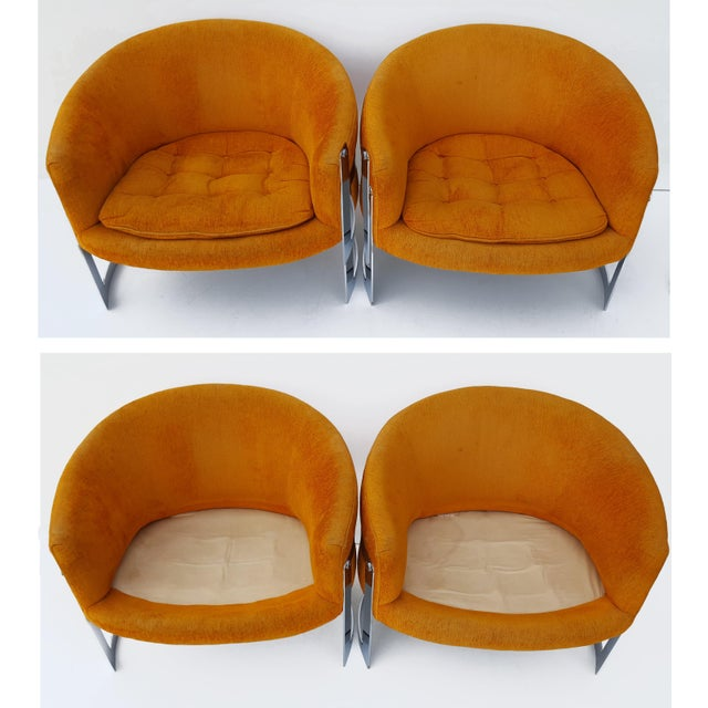 1960s 1960s Vintage Milo Baughman Barrel Back Chairs - A Pair For Sale - Image 5 of 8