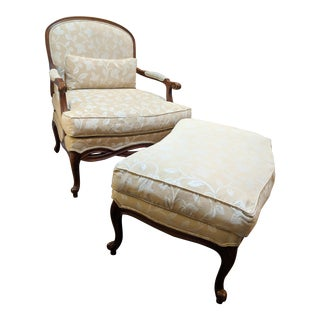 Contemporary Down Filled Bergère Accent Chair & Ottoman - a Pair For Sale