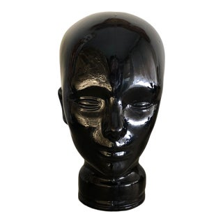Vintage Black Glass Head Mannequin Made in Spain Sculpture Art For Sale