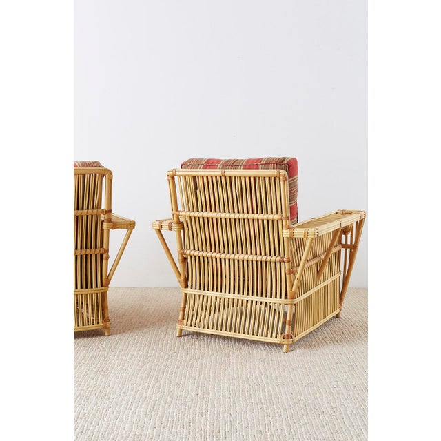 Pair of Bielecky Stick Wicker Rattan President Lounge Chairs For Sale In San Francisco - Image 6 of 13