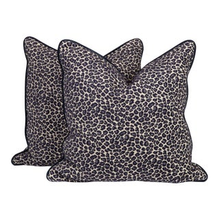 Navy Spotted Leopard Pillows - A Pair