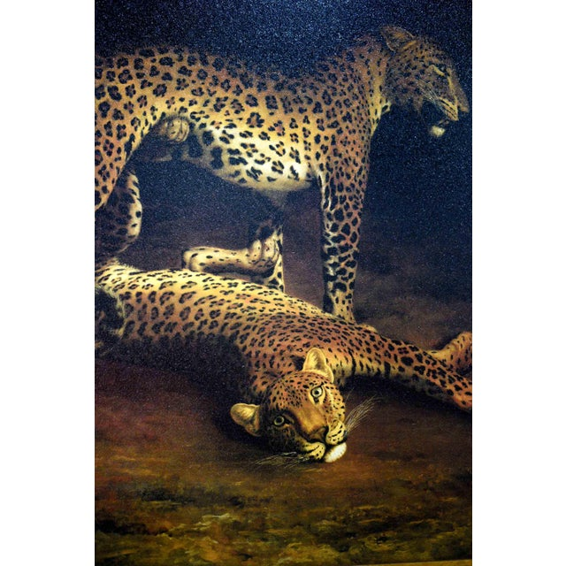 Two Leopards Lying in the Exeter Exchange by Jacques-Laurent Agasse Reproduction 47h X 37winches For Sale - Image 4 of 13