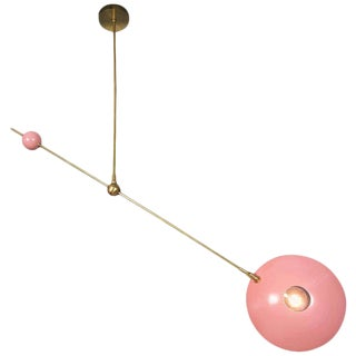 "Striking ""Counterpoint"" Brass and Enamel Pendant by Blueprint Lighting For Sale"