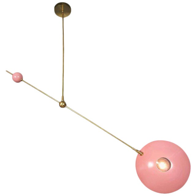 """Striking """"Counterpoint"""" Brass and Enamel Pendant by Blueprint Lighting For Sale"""