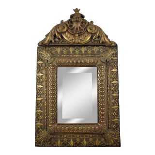 Mid-18th Century French Rocaille Patinated Metal Wall Mirror For Sale