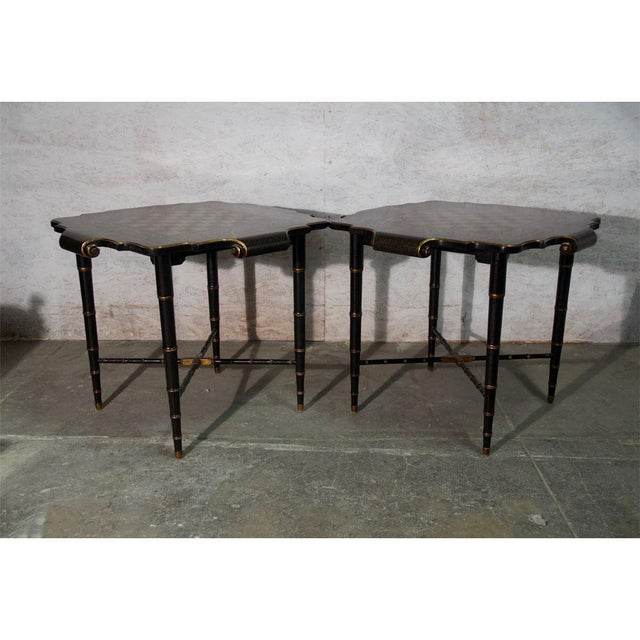 Metal Black & Gold Gilt Game Table For Sale - Image 7 of 8