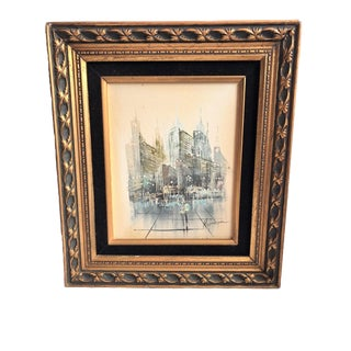 Vintage Mid-Century Hopman Abstract Cityscape Original Oil Painting For Sale