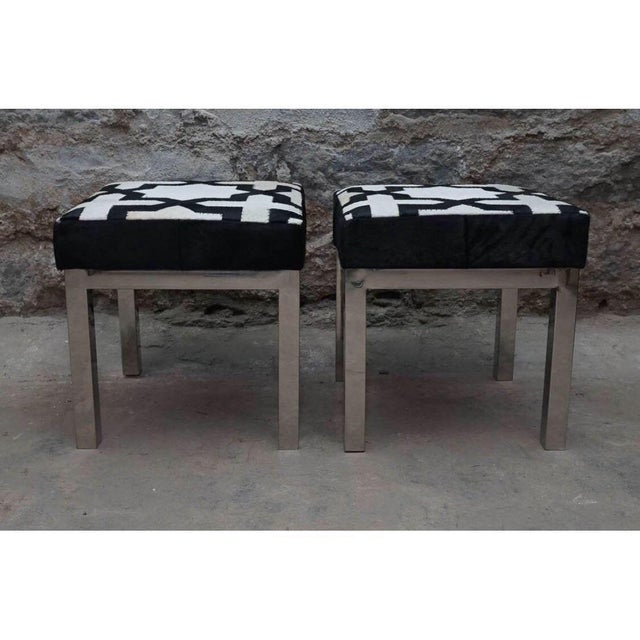 Modern Geometric Print Cowhide Ottomans- a Pair For Sale In Chicago - Image 6 of 7