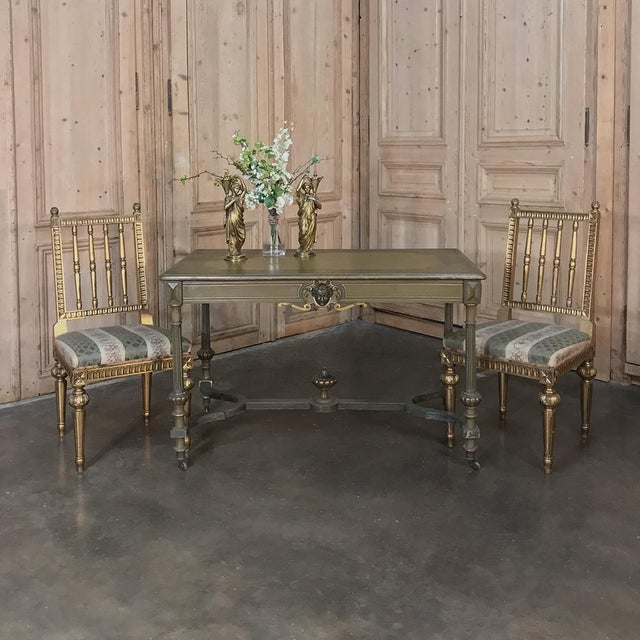French 19th Century French Louis XVI Painted End ~ Library Table For Sale - Image 3 of 12