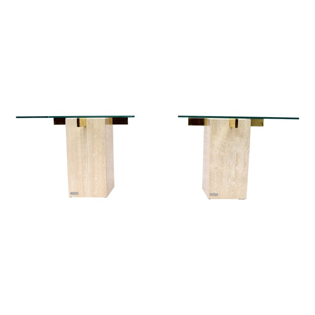 Artedi Travertine Marble Occasional Tables, Pair For Sale