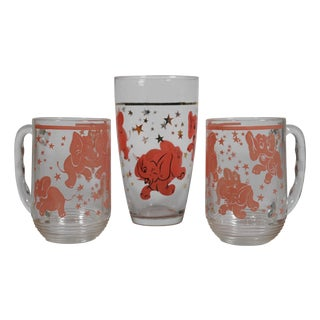 Pink Elephant Beer Glasses - Set of 3 For Sale