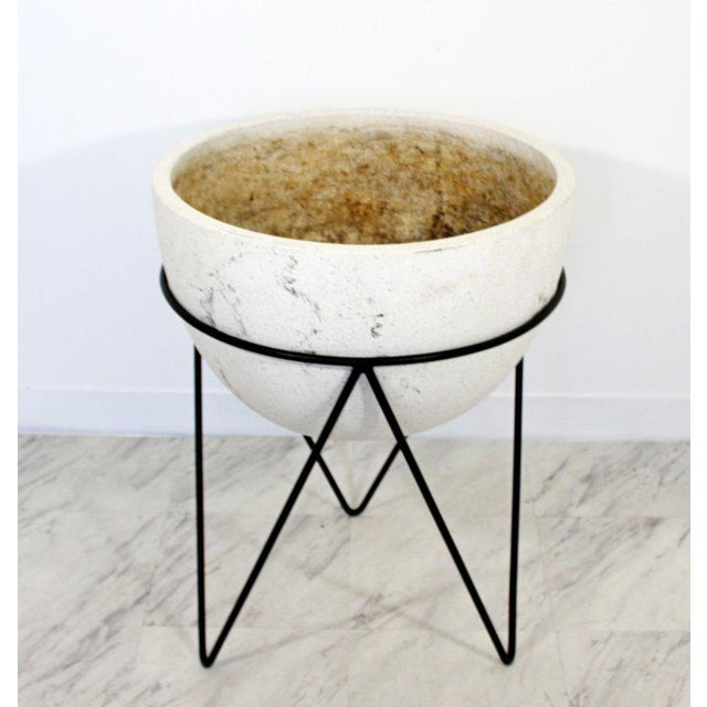 For your consideration is a marvelous, stone pottery planter, on a unique, hairpin iron base, circa the 1970s. In very...
