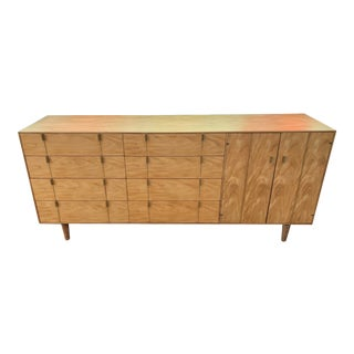Mid Century Brass and Maple Sideboard For Sale