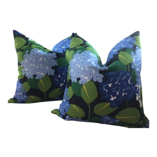 "Schumacher Hydrangea of 22"" Down Filled Pillows - a Pair For Sale"