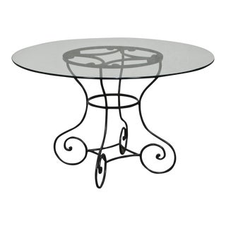 """Custom Wrought Iron Base 48"""" Round Glass Top Dining Table"""