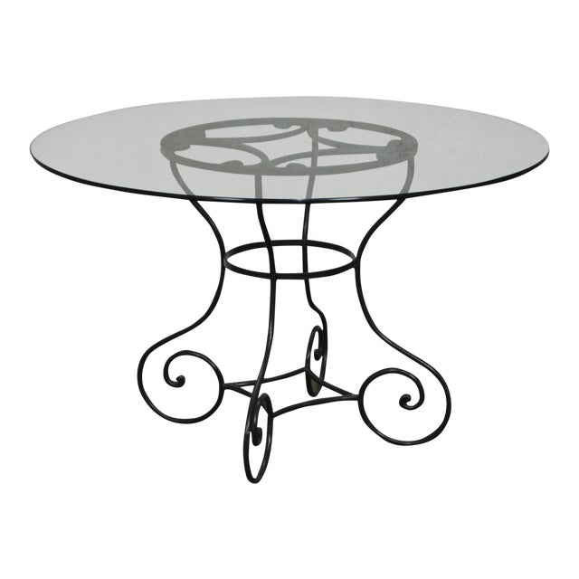 Custom Wrought Iron Base Round Glass Top Dining Table Chairish - Wrought iron round glass dining table