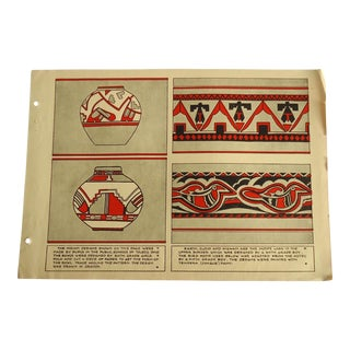 1930 Art Deco Native American Pottery Designs Print Character Culture Citizenship Guides