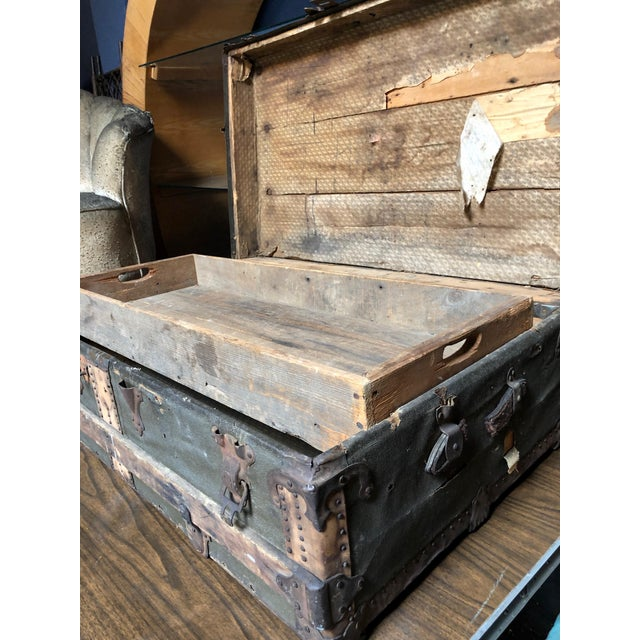 Brown Vintage P & S Co. Wood Leather and Metal Trunk For Sale - Image 8 of 11