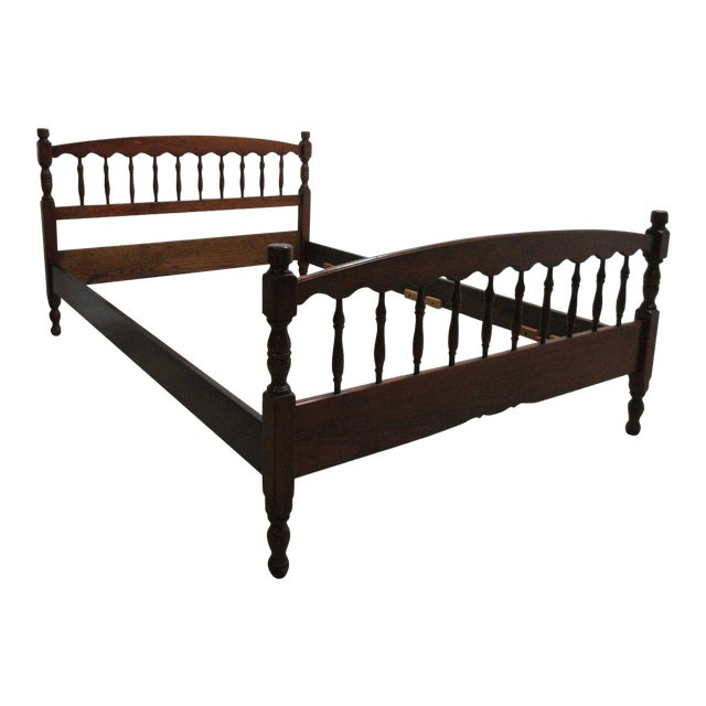 Stickley Cherry Spindle Carved Full Size Headboard Bedframe - Image 1 of 5