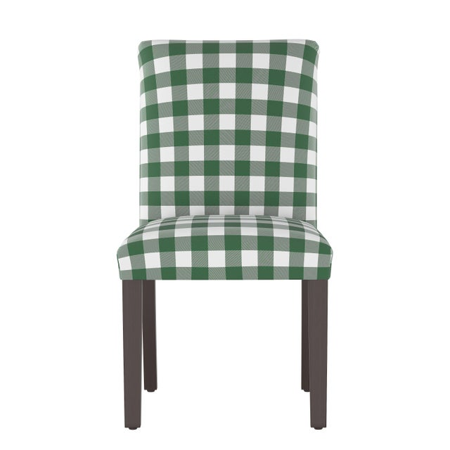Textile Dining Chair in Classic Gingham Evergreen Oga For Sale - Image 7 of 7