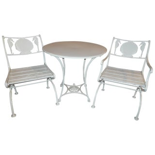 Bistro Set, Cast Iron Table and Chairs With Shell & Sea Horses For Sale