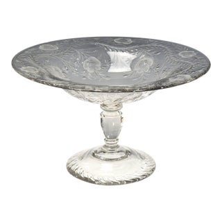 Webb Monumental Blown Crystal Footed Centerpiece w/ Wheel Cut Floral Engraving For Sale