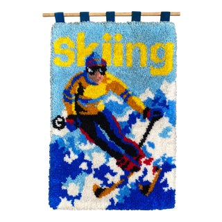 Mid 20th Century Skiing Latch Hook Wall Hanging For Sale