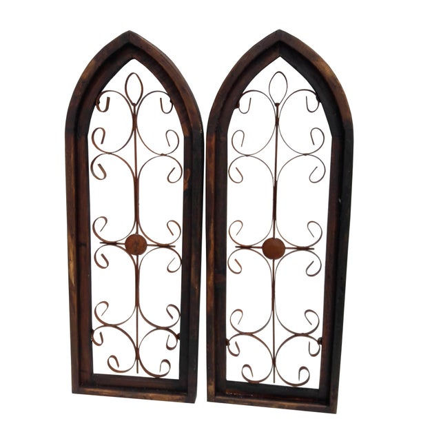 Pair Rustic Burnt Wood Shabby Garden Architectural Windows Shutters Cathedral Trellis For Sale In Philadelphia - Image 6 of 6