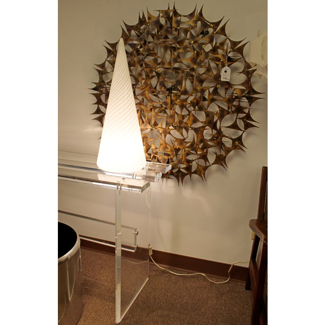 Glass 1970s Mid-Century Modern Large White Vetri Murano Glass Conical Table Lamp For Sale - Image 7 of 8
