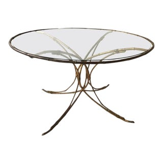 1950s Italian Gilt Metal Faux Bamboo Circular Dining Table For Sale