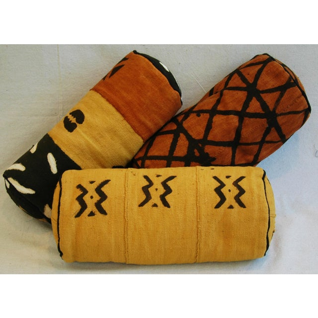Tribal Mud-Cloth Bolster Accent Pillows - Set of 3 - Image 2 of 9