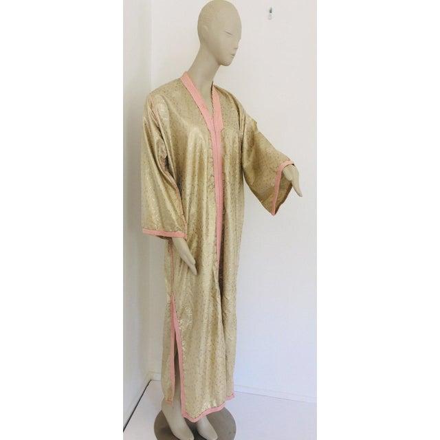 1970s Metallic Gold Moroccan Caftan, Kaftan Maxi Dress North Africa, Morocco For Sale - Image 13 of 13