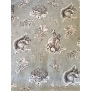 Traditional Sanderson Squirrel and Hedgehog Linen Blend Fabric - 4 Yards For Sale
