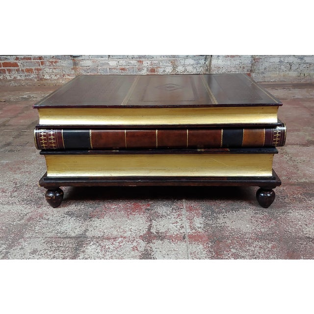 American Maitland-Smith Stacked Leather Books Form Coffee Table For Sale - Image 3 of 11