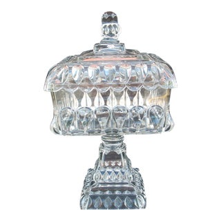 Antique Square Covered Compote For Sale
