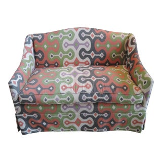 Contemporary Ikat Skirted Loveseat For Sale