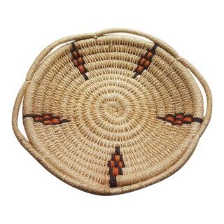 1980s Tribal Woven Wicker Basket For Sale