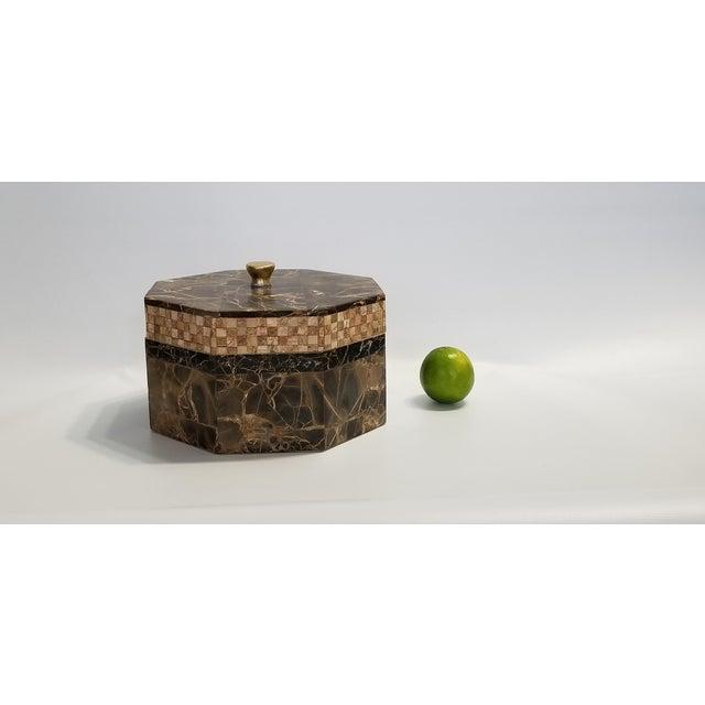Vintage Maitland Smith Tessellated Italian Portoro Marble Box - Mid Century Modern Palm Beach Boho Chic Jewelry For Sale - Image 11 of 11