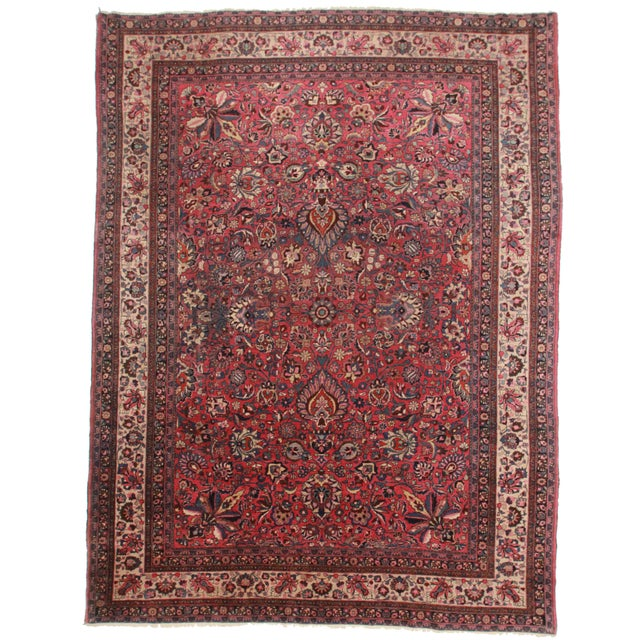 Hand-Knotted Persian Mashad Rug - 9′11″ × 13′3″ For Sale