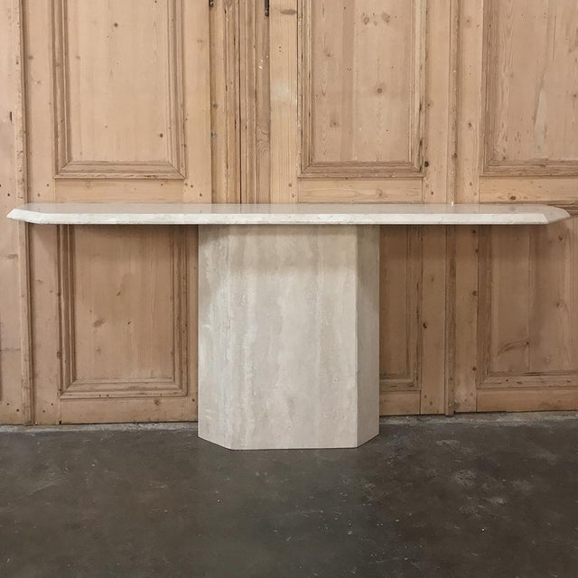 Mid-Century Limestone ~ Travertine Console For Sale - Image 12 of 12