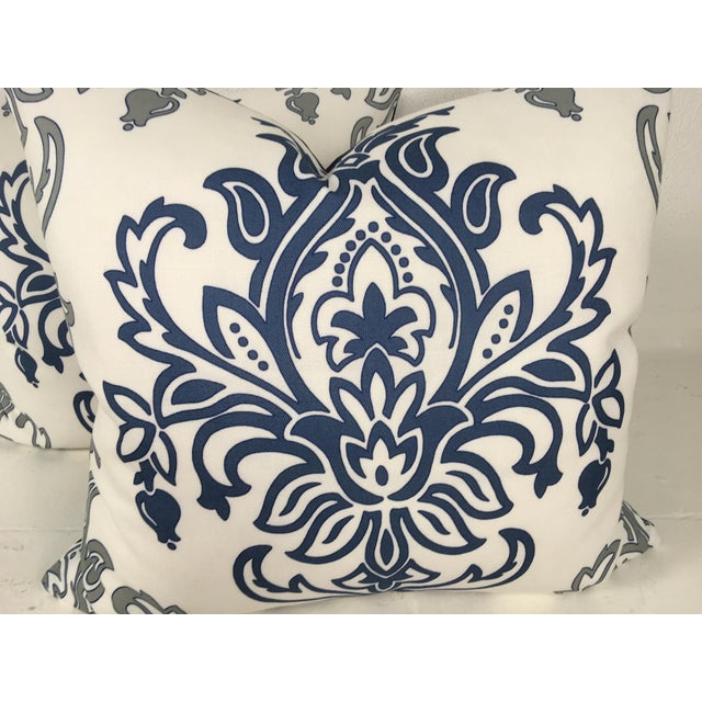 Medallion Motif Blue & White Pillows – a Pair For Sale - Image 4 of 9