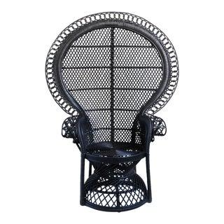 Black Rattan Loop Peacock Chair